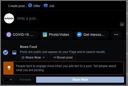 Screenshot of facebook group posting interface