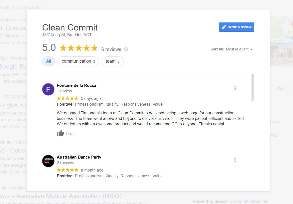 Screenshot of Clean Commit's Google reviews panel